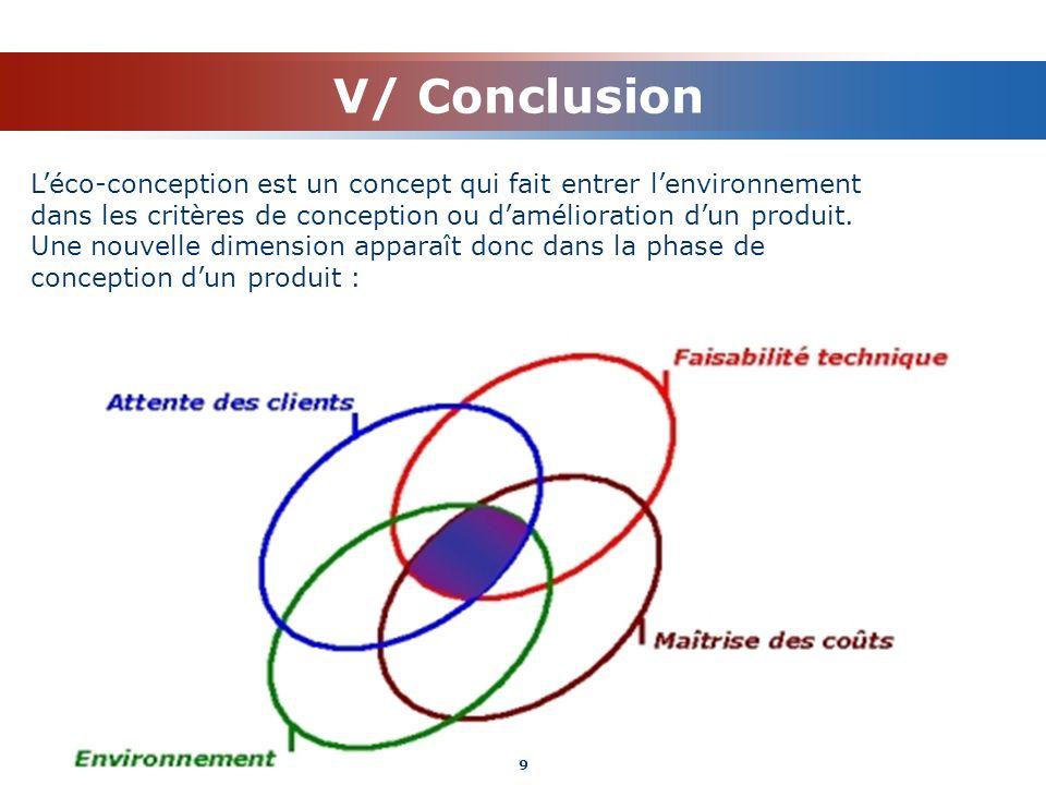 V/ Conclusion Léco-conception est un concept qui fait entrer lenvironnement dans les critères de conception ou damélioration dun produit. Une nouvelle