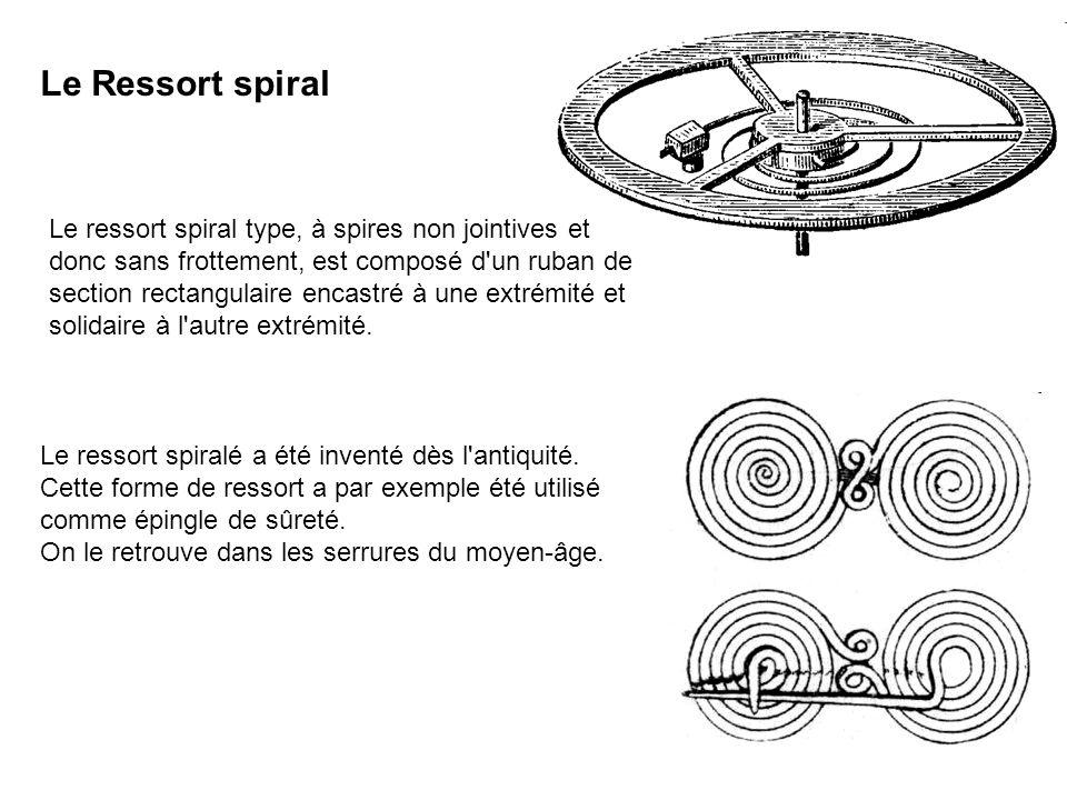 Le ressort spiral type, à spires non jointives et donc sans frottement, est composé d'un ruban de section rectangulaire encastré à une extrémité et so