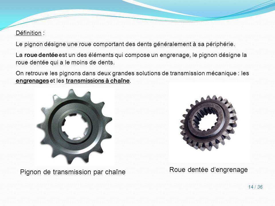 Définition : Le pignon désigne une roue comportant des dents généralement à sa périphérie. La roue dentée est un des éléments qui compose un engrenage
