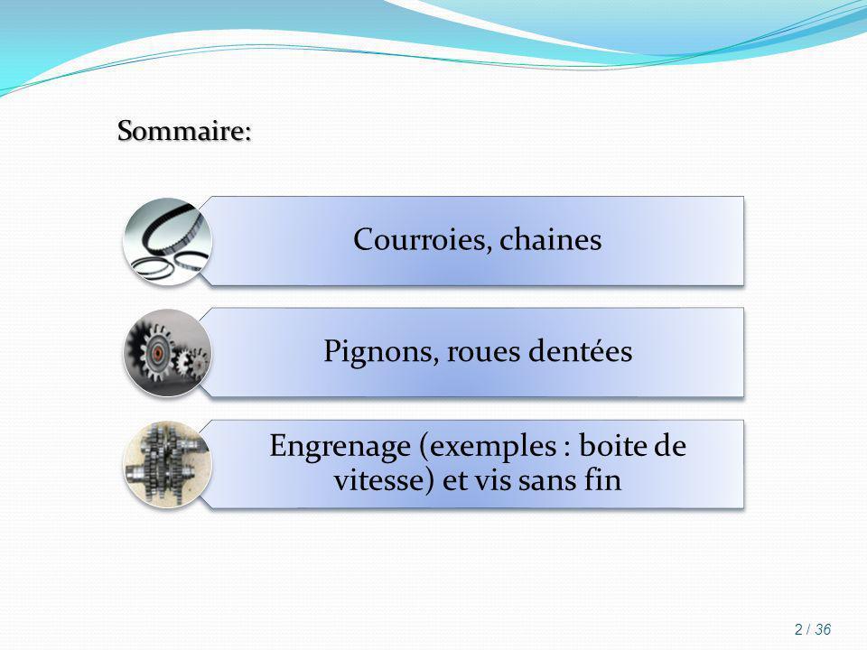 Sommaire: Courroies, chaines Pignons, roues dentées Engrenage (exemples : boite de vitesse) et vis sans fin 2 / 36