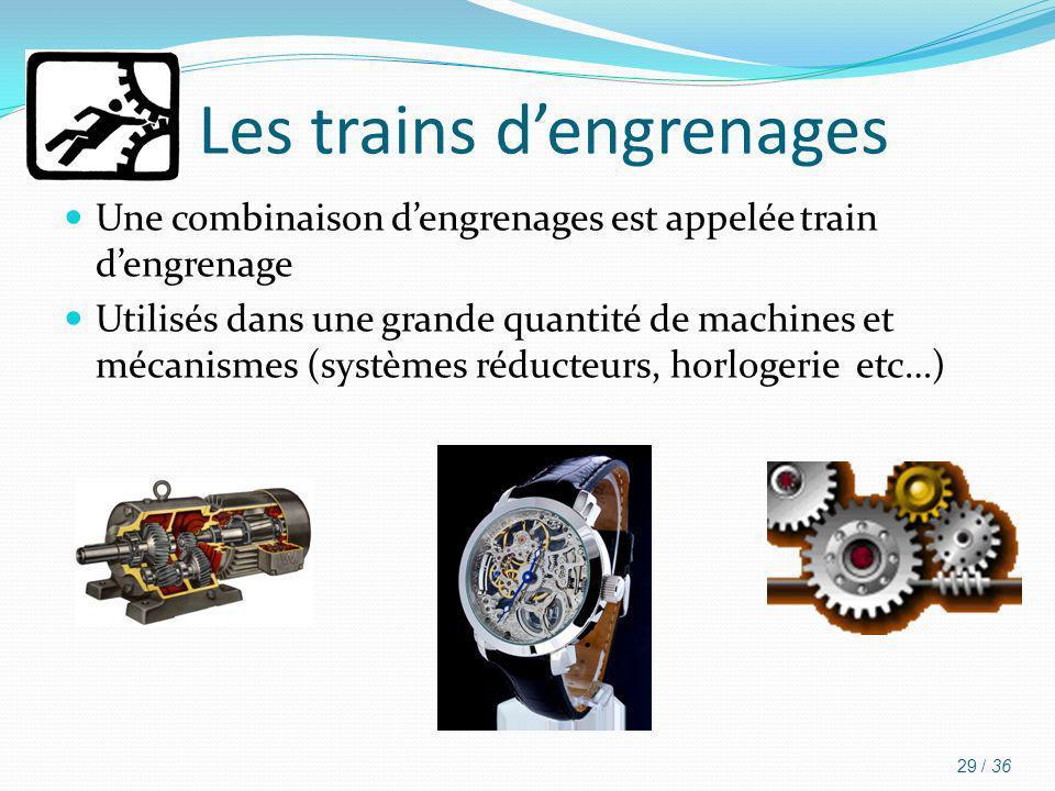 Les trains dengrenages Une combinaison dengrenages est appelée train dengrenage Utilisés dans une grande quantité de machines et mécanismes (systèmes