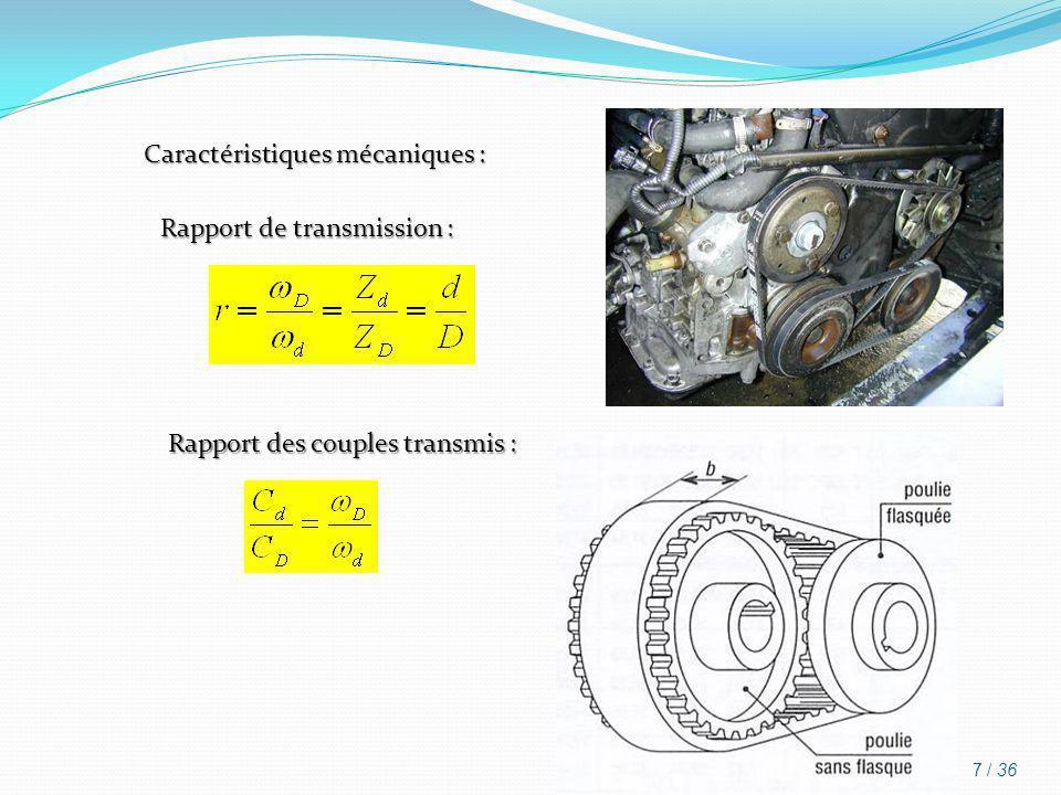 Caractéristiques mécaniques : Rapport de transmission : Rapport des couples transmis : 7 / 36
