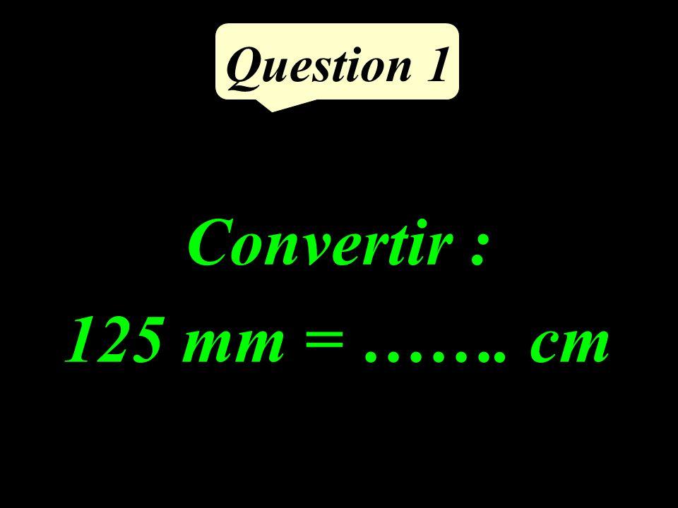 Question 1 Convertir : 125 mm = ……. cm