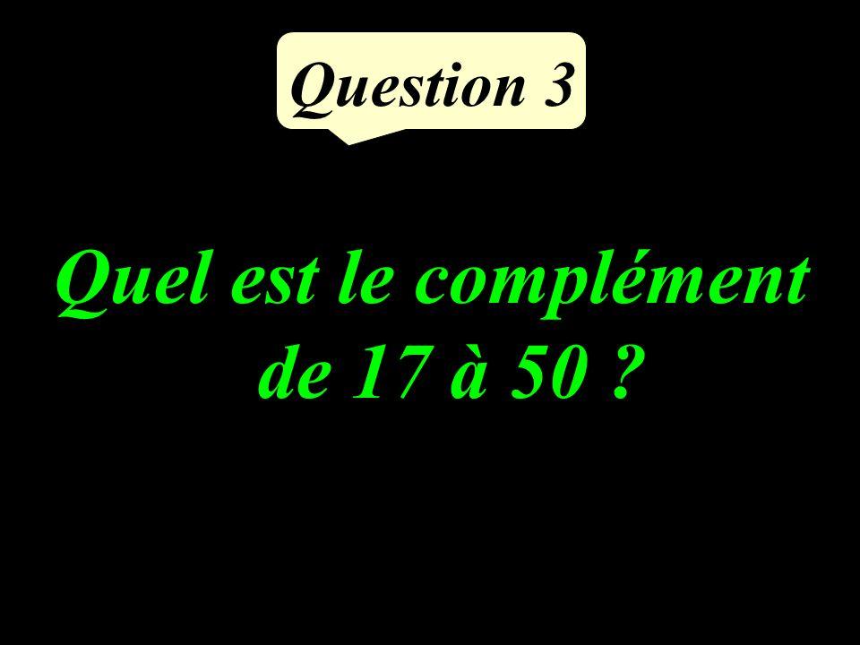 Question 3 Quel est le complément de 17 à 50 ?