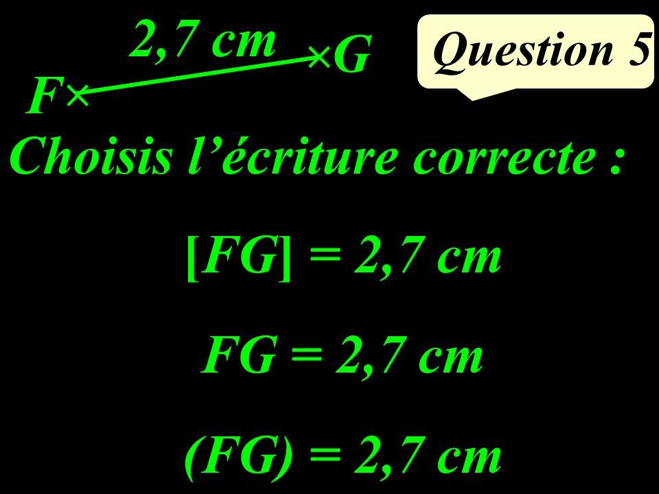 Question 5 Choisis lécriture correcte : [FG] = 2,7 cm FG = 2,7 cm (FG) = 2,7 cm F G 2,7 cm
