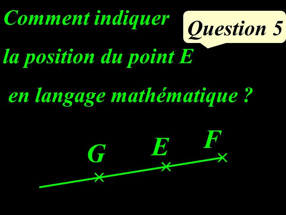 Question 5 Comment indiquer la position du point E en langage mathématique ? G F E