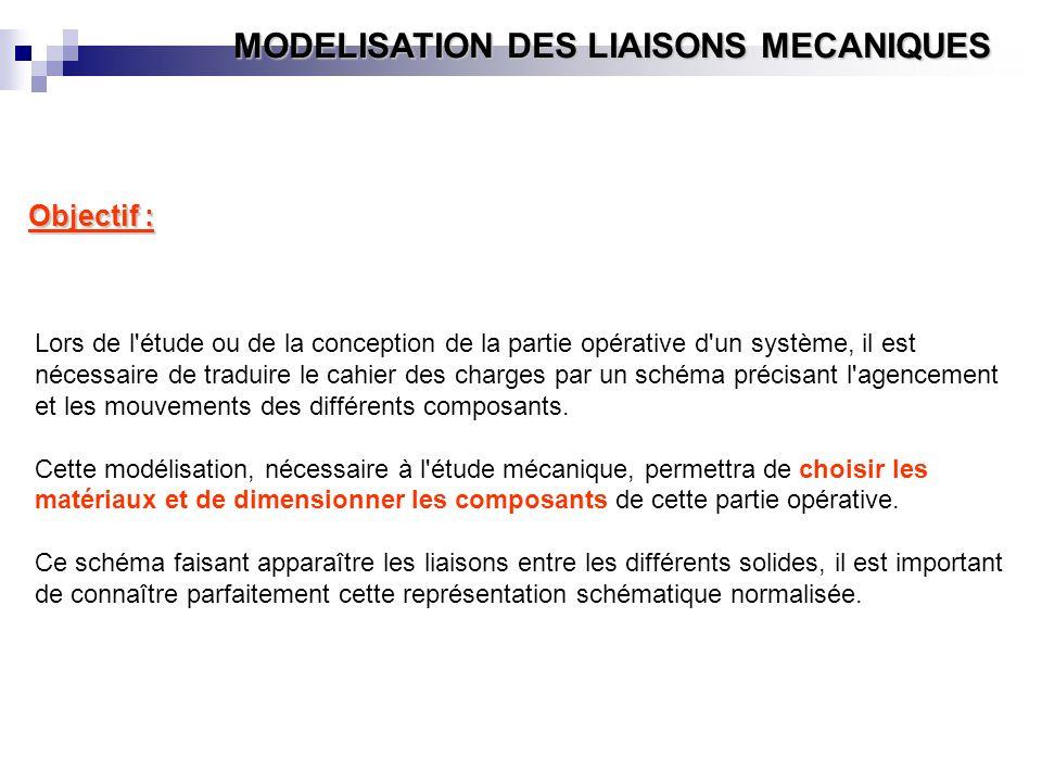 MODELISATION DES LIAISONS MECANIQUES Objectif : Lors de l'étude ou de la conception de la partie opérative d'un système, il est nécessaire de traduire