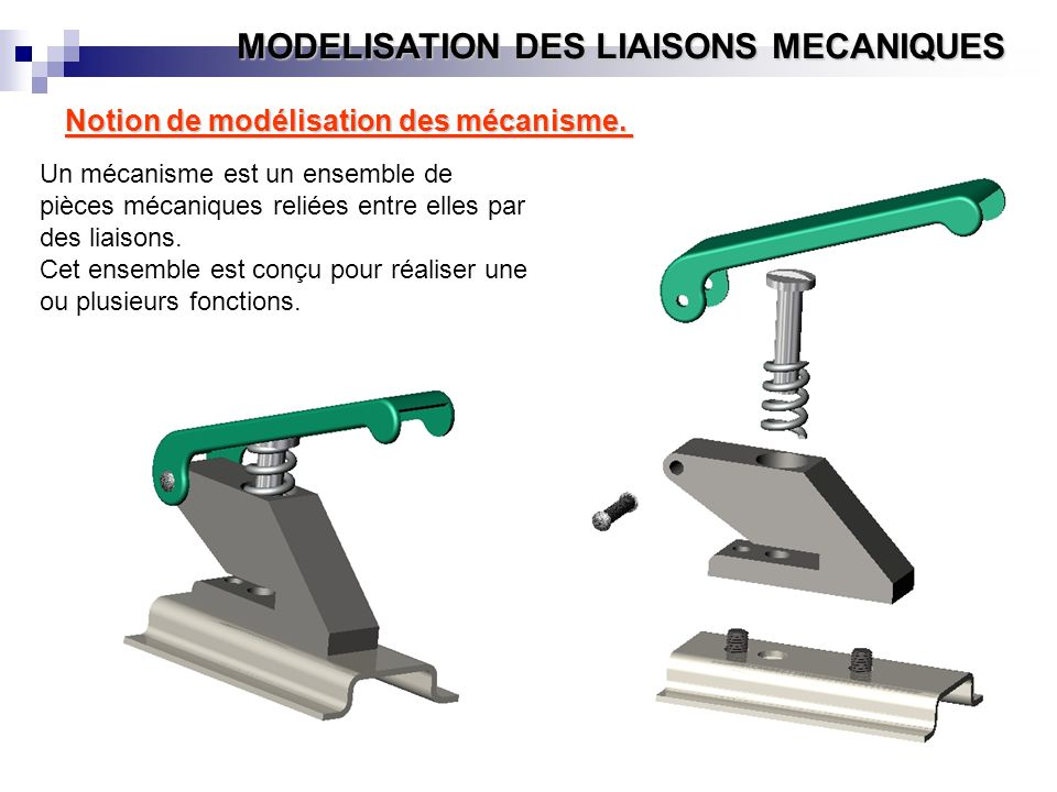 MODELISATION DES LIAISONS MECANIQUES Notion de modélisation des mécanisme. Un mécanisme est un ensemble de pièces mécaniques reliées entre elles par d