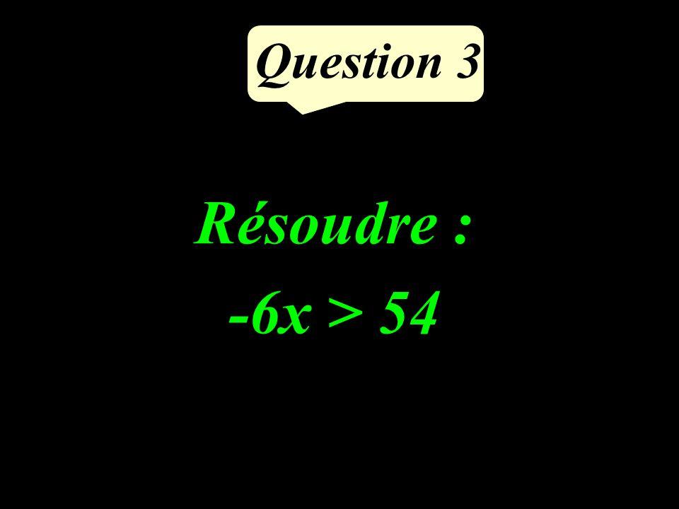 Question 3 Résoudre : -6x > 54