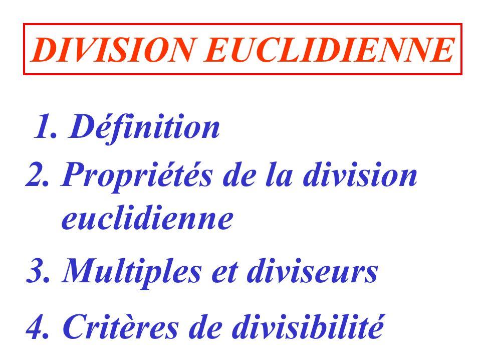 1.Définition 2. Propriétés de la division euclidienne 3.