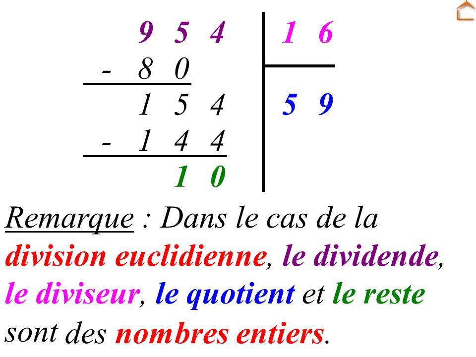 45961 95 08- 451 441- 01 Remarque : Dans le cas de la division euclidienne, le dividende, le diviseur, le quotient et le reste sont … des nombres entiers.