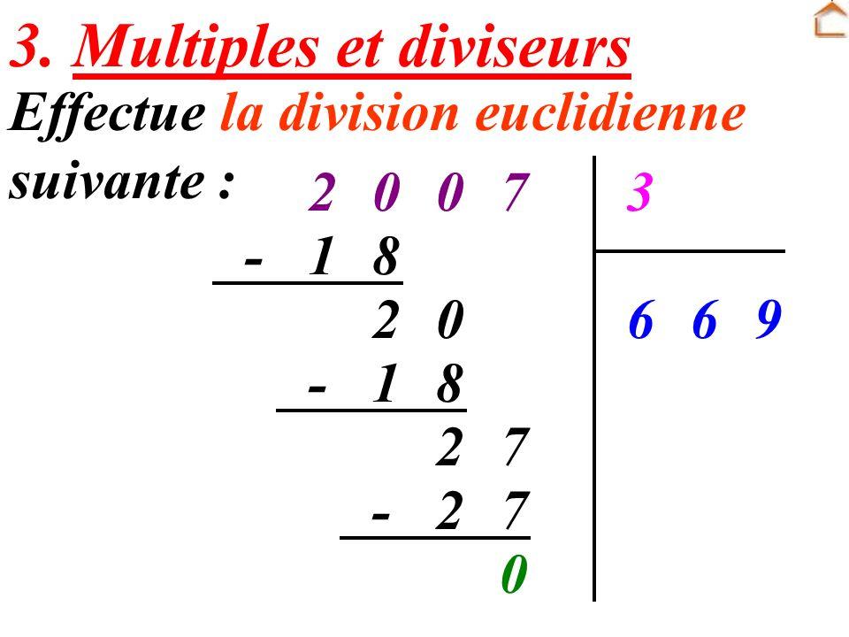 3. Multiples et diviseurs Effectue la division euclidienne suivante : 70023 966 81- 02 81- 72 72- 0