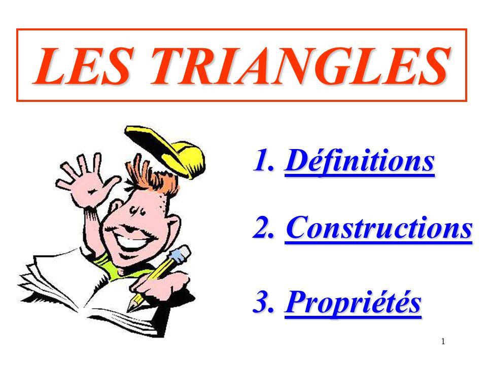 1 LES TRIANGLES 1. Définitions 1. Définitions 2. Constructions 2. Constructions 3. Propriétés 3. Propriétés