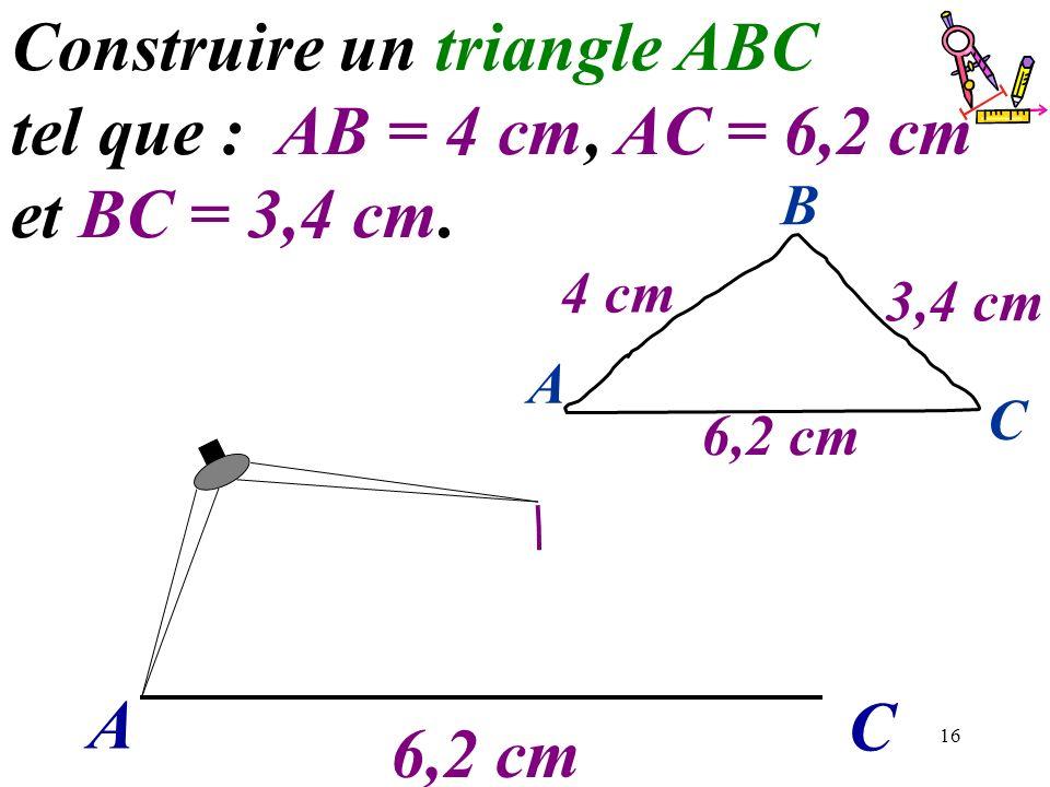 16 A C Construire un triangle ABC tel que : AB = 4 cm, AC = 6,2 cm et BC = 3,4 cm. 6,2 cm A C B 4 cm 3,4 cm