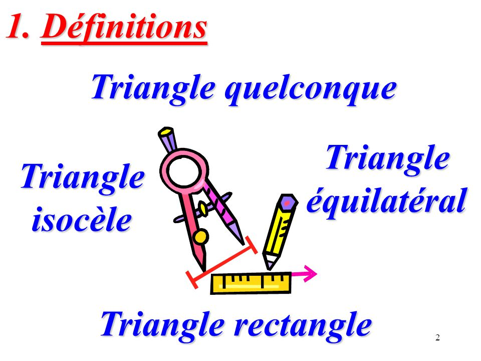 2 Triangle quelconque Triangle quelconque Triangle isocèle Triangle isocèle Triangle équilatéral Triangle équilatéral Triangle rectangle Triangle rect