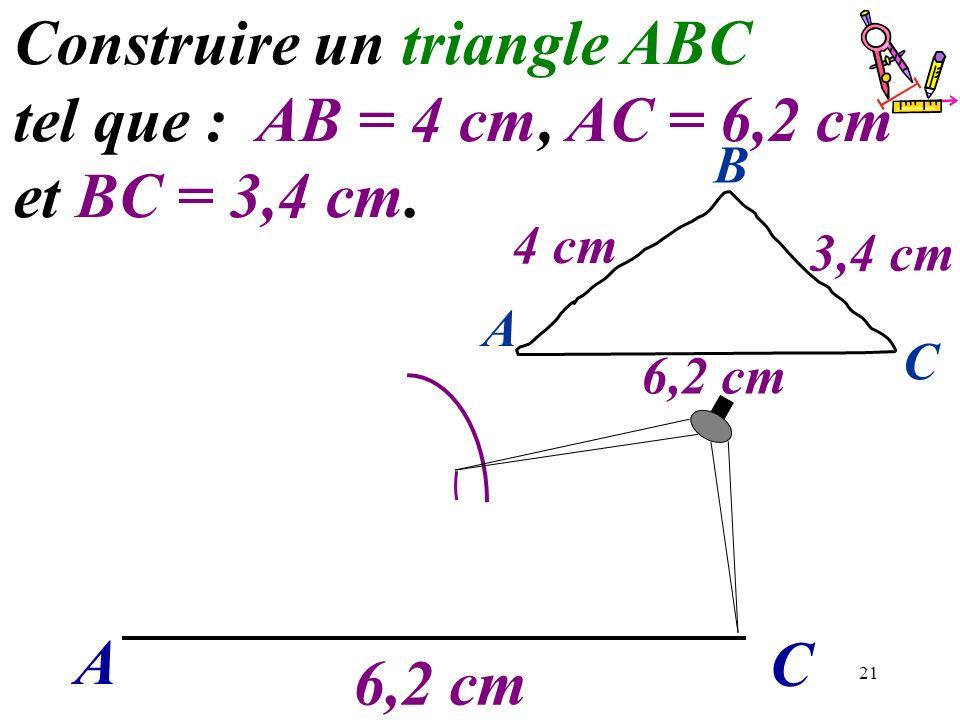 21 A C Construire un triangle ABC tel que : AB = 4 cm, AC = 6,2 cm et BC = 3,4 cm. 6,2 cm A C B 4 cm 3,4 cm