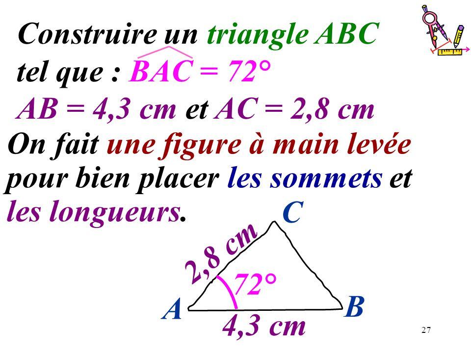 27 Construire un triangle ABC tel que : BAC = 72° AB = 4,3 cm et AC = 2,8 cm On fait une figure à main levée pour bien placer les sommets et les longu