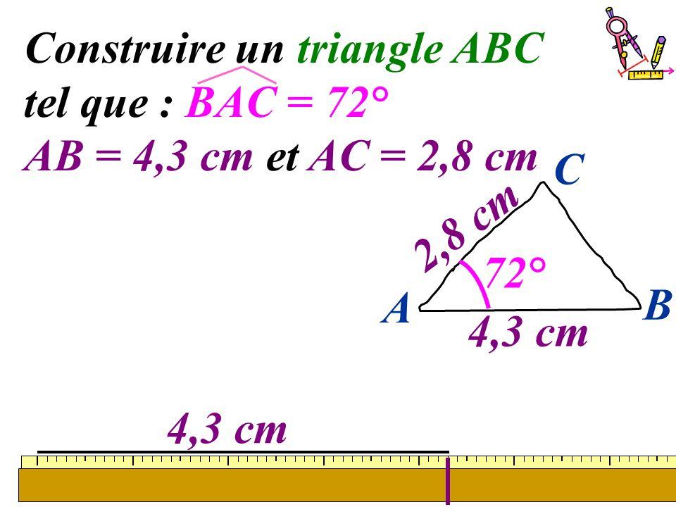 28 Construire un triangle ABC tel que : BAC = 72° AB = 4,3 cm et AC = 2,8 cm 4,3 cm A B C 2,8 cm 72°