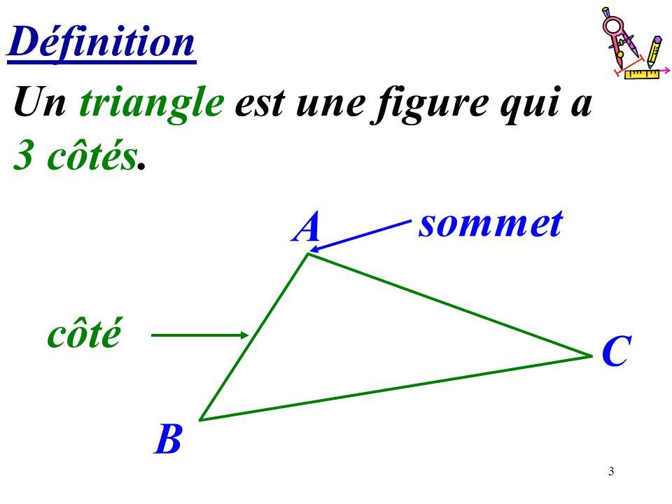 3 Définition Un triangle est une figure qui a.............. 3 côtés. B C A côté sommet