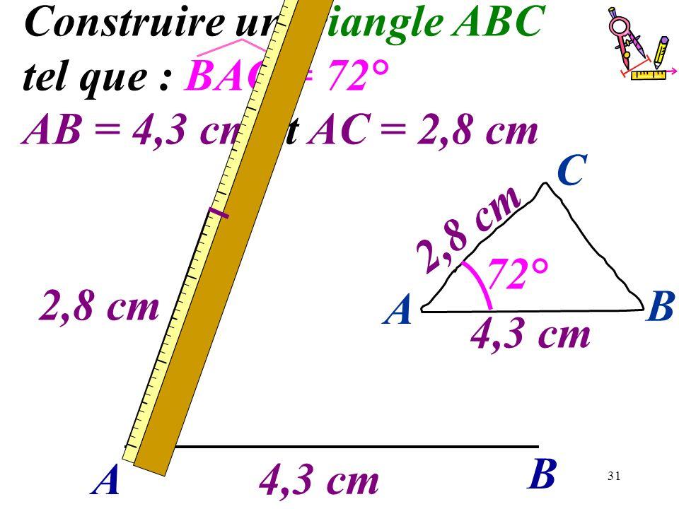 31 Construire un triangle ABC tel que : BAC = 72° AB = 4,3 cm et AC = 2,8 cm A B 2,8 cm 4,3 cm A B C 2,8 cm 72°