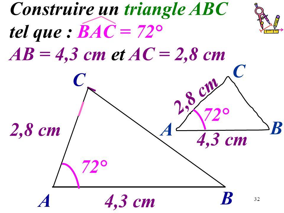32 Construire un triangle ABC tel que : BAC = 72° AB = 4,3 cm et AC = 2,8 cm A B C 2,8 cm 4,3 cm 72° A B C 4,3 cm 2,8 cm 72°