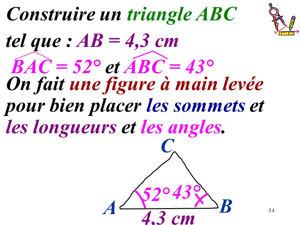 34 Construire un triangle ABC tel que : AB = 4,3 cm BAC = 52° et ABC = 43° On fait une figure à main levée pour bien placer les sommets et les longueu