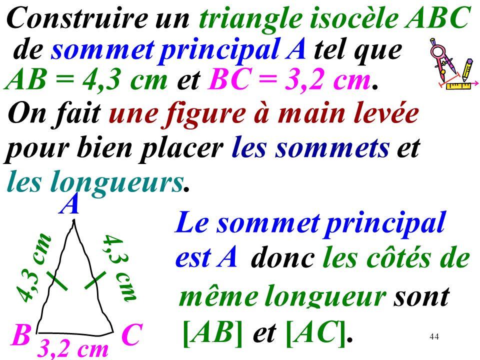 44 Construire un triangle isocèle ABC de sommet principal A tel que AB = 4,3 cm et BC = 3,2 cm. donc les côtés de même longueur sont …..………….. A C Le