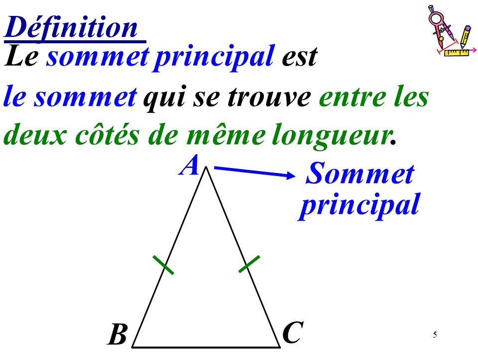 5 Définition A Sommet principal B C Le sommet principal est ………………………………….. le sommet qui se trouve entre les deux côtés de même longueur.