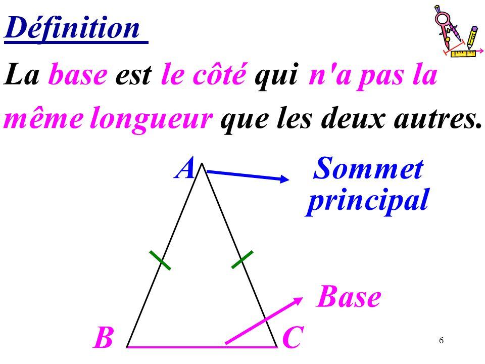6 Définition BC A Sommet principal Base La base est …………………….. le côté qui même longueur que les deux autres. n'a pas la