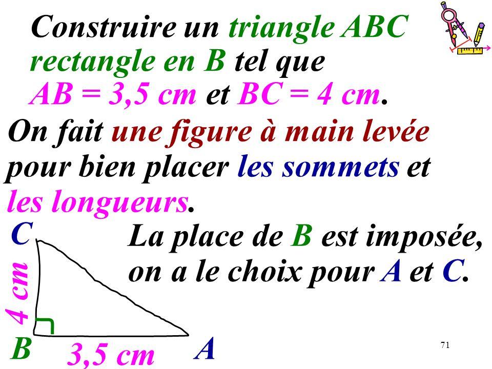 71 Construire un triangle ABC rectangle en B tel que AB = 3,5 cm et BC = 4 cm. BA C La place de B est imposée, on a le choix pour A et C. 3,5 cm 4 cm