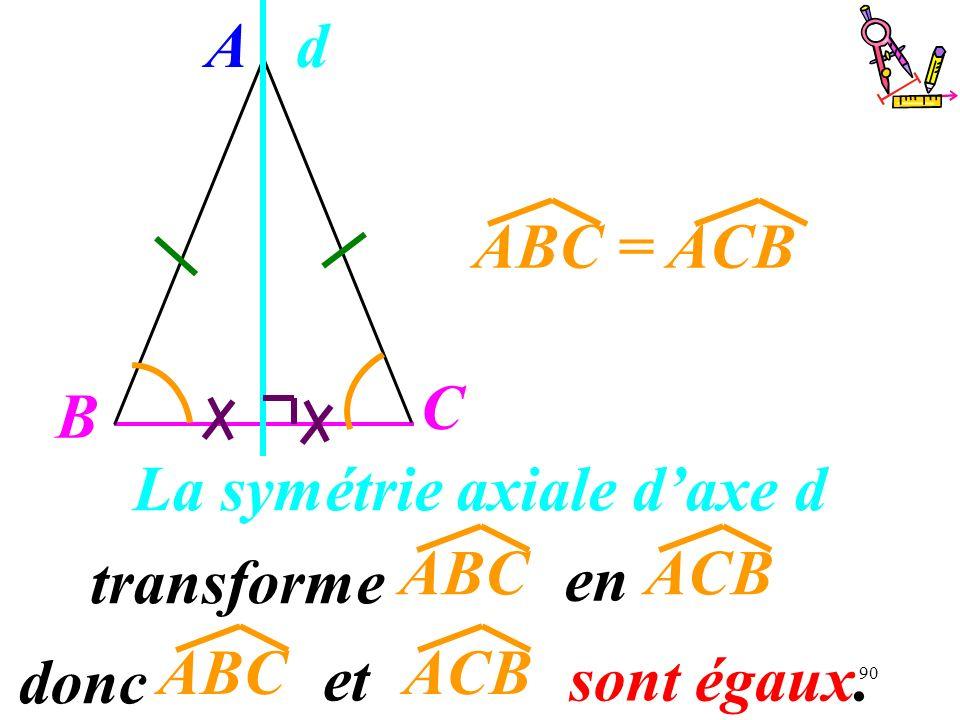 90 La symétrie axiale daxe d transforme A B C ABC = ACB d ACBABC en donc ACBABC et sont égaux.