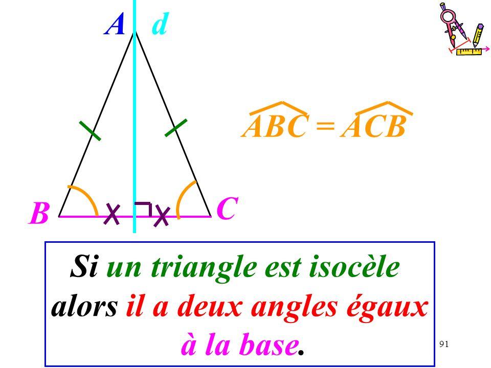 91 Si un triangle est isocèle alors il a deux angles égaux à la base. A B C ABC = ACB d