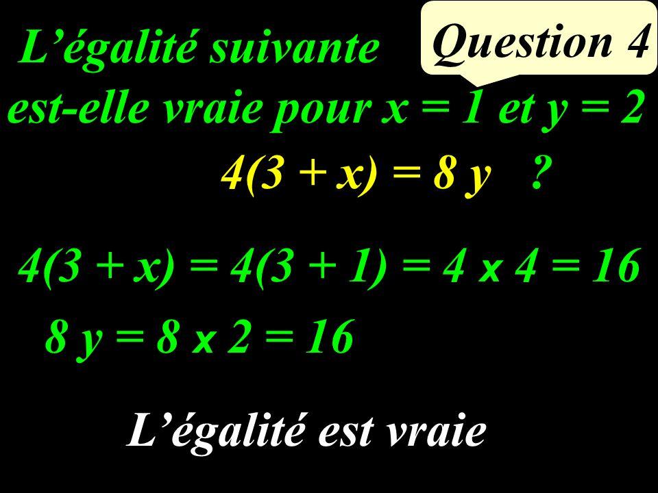 Question 3 Exprimer en fonction du nombre entier x : le nombre entier qui suit le double de ce nombre 2 x + 1