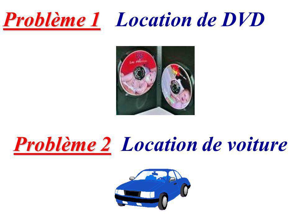 Problème 1 Problème 1 Location de DVD Problème 2 Problème 2 Location de voiture