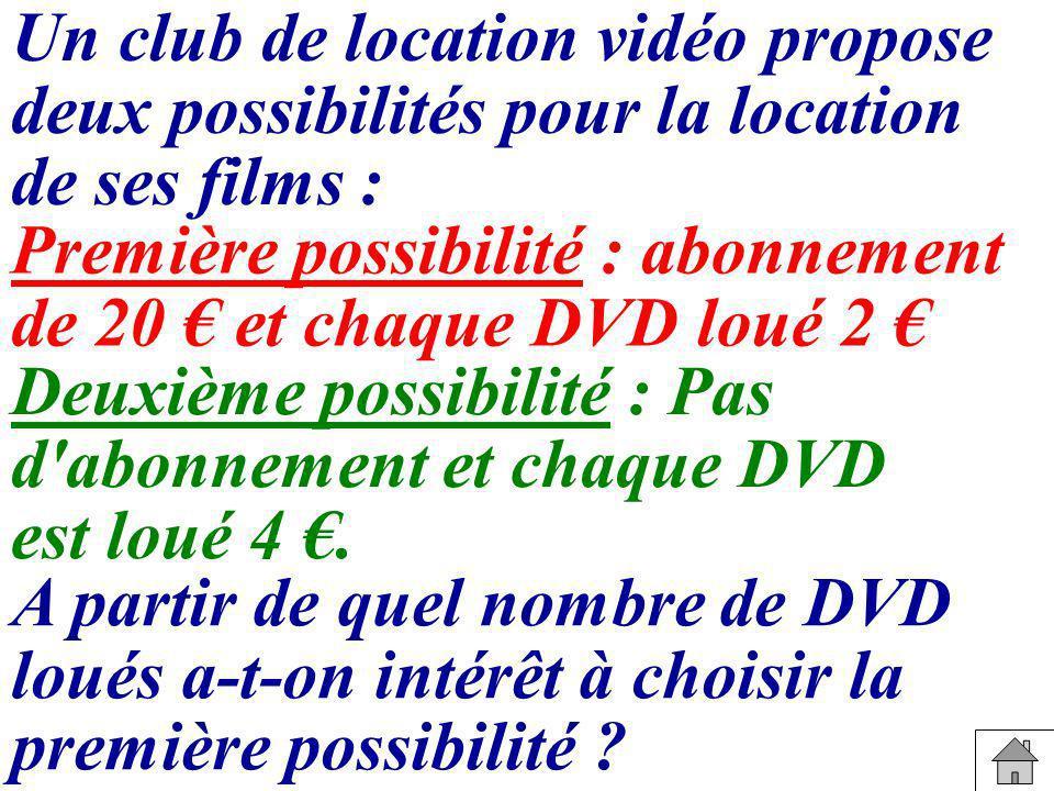 Un club de location vidéo propose deux possibilités pour la location de ses films : Première possibilité : abonnement de 20 et chaque DVD loué 2 Deuxi