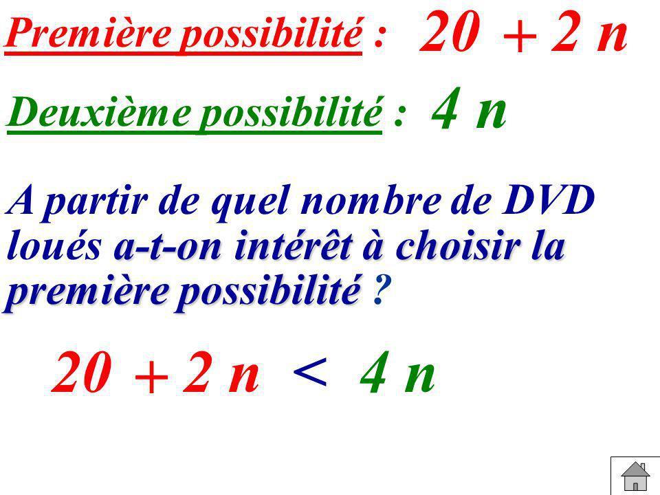Première possibilité : A partir de quel nombre de DVD loués a aa a-t-on intérêt à choisir la première possibilité ? 20 + 2 n Deuxième possibilité : 4