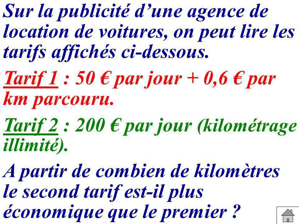Sur la publicité dune agence de location de voitures, on peut lire les tarifs affichés ci-dessous. A partir de combien de kilomètres le second tarif e