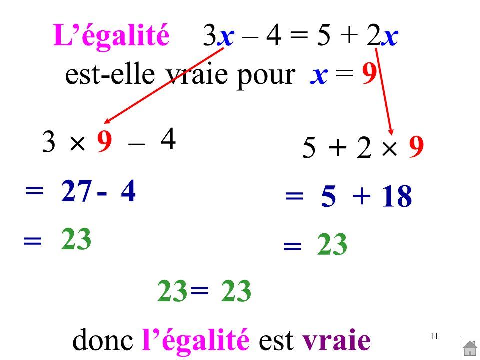 11 Légalité 3x – 4 = 5 + 2x est-elle vraie pour x = 9 3 =4-27 4 –9 = 23 5 =18+5 9 2+ = 23 = donc légalité est vraie