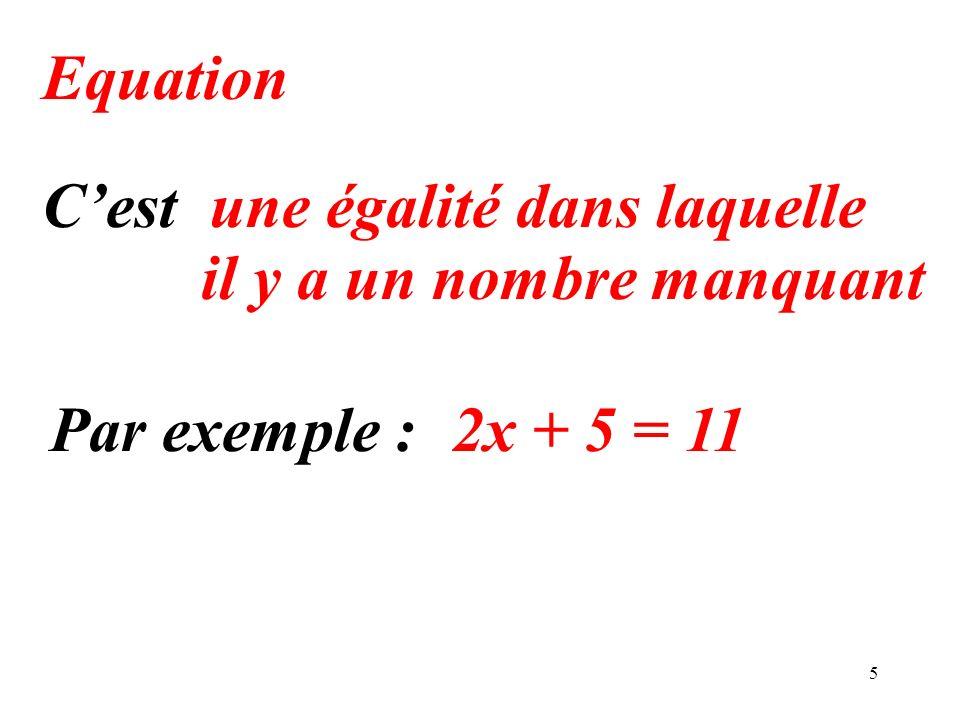 5 Equation une égalité dans laquelle Par exemple :2x + 5 = 11 Cest il y a un nombre manquant