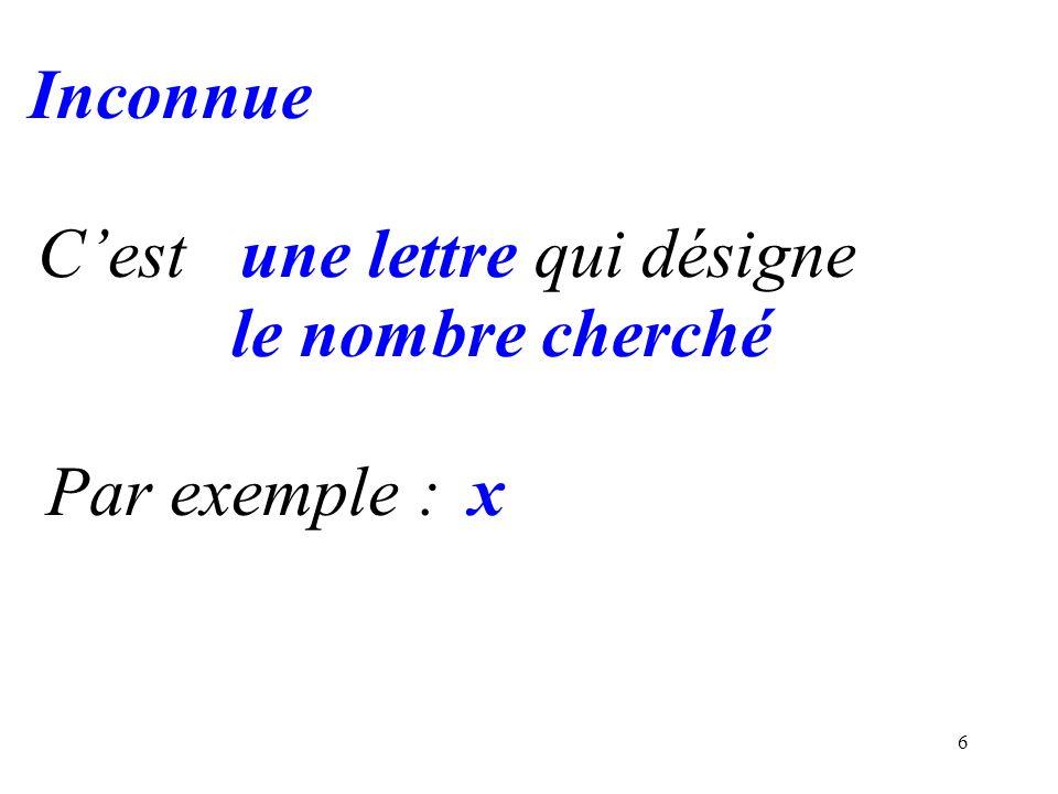 6 Inconnue Cestune lettre qui désigne le nombre cherché Par exemple :x