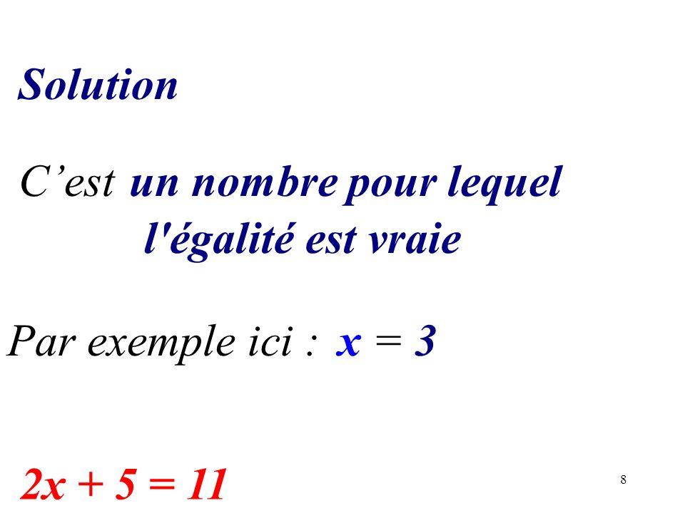 8 x = 3 Solution Cestun nombre pour lequel l'égalité est vraie Par exemple ici : 2x + 5 = 11
