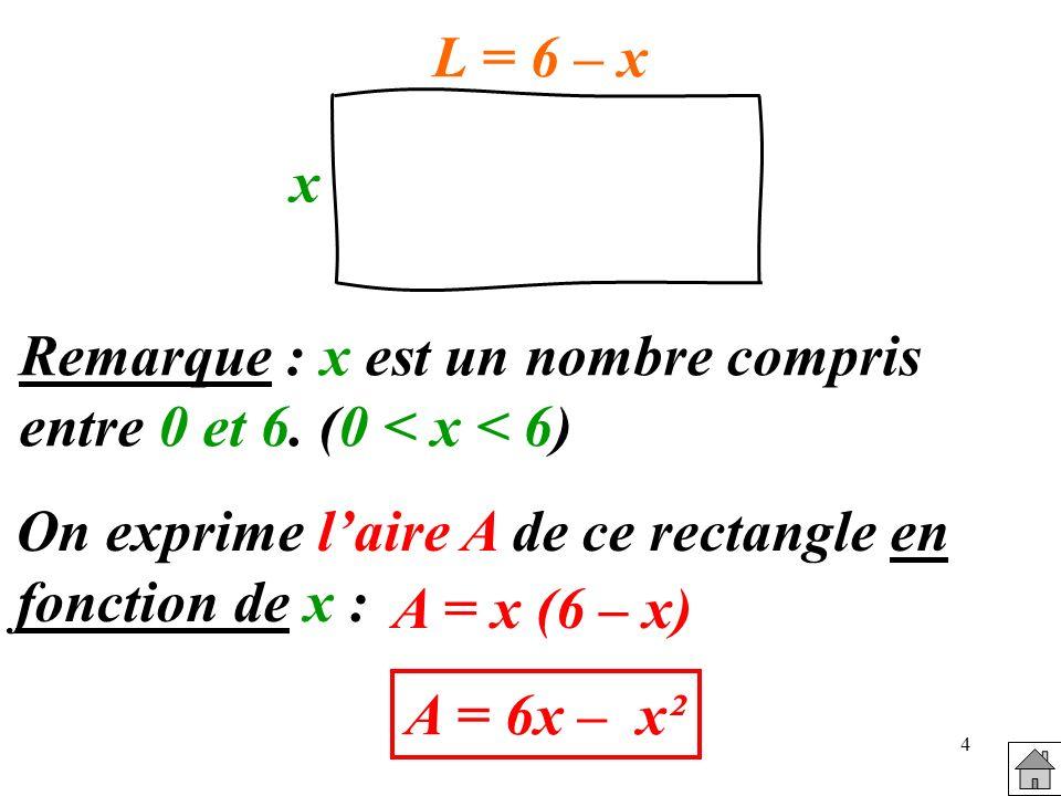 4 Remarque : x est un nombre compris entre 0 et 6. (0 < x < 6) x L = 6 – x On exprime laire A de ce rectangle en fonction de x : A = x (6 – x) A = 6x