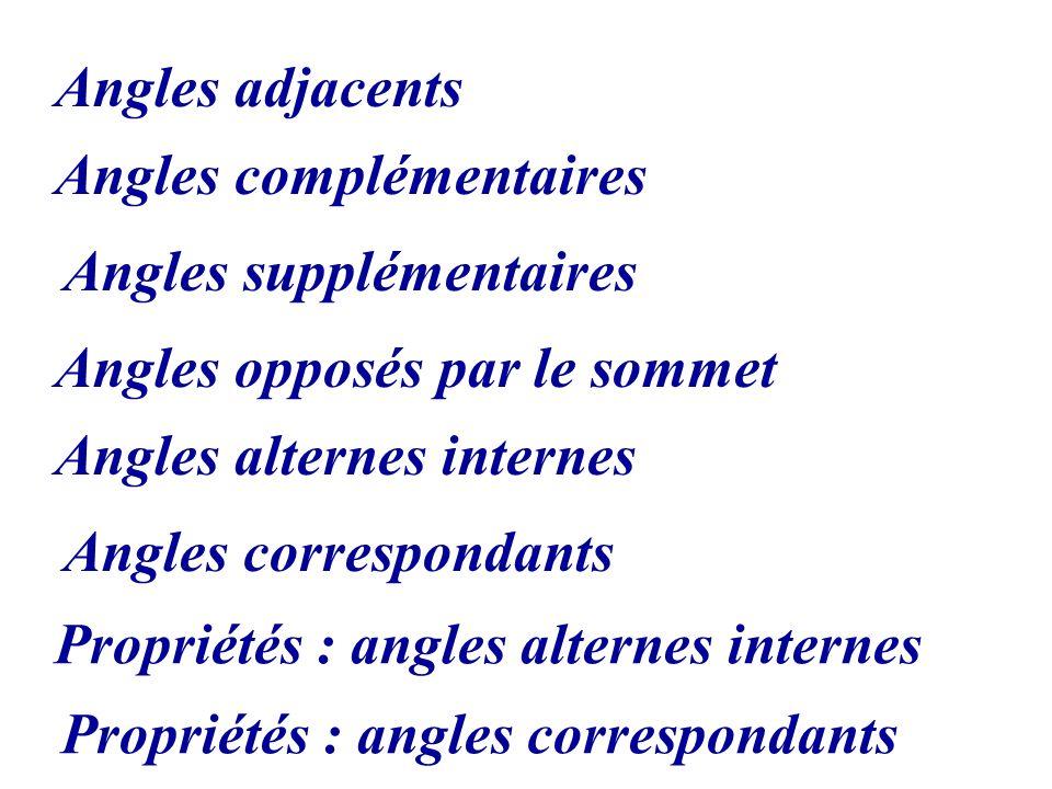 Angles opposés par le sommet Angles alternes internes Angles correspondants Angles adjacents Angles complémentaires Angles supplémentaires Propriétés