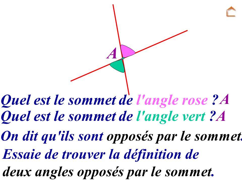 A Quel est le sommet de l'angle rose ? A Quel est le sommet de l'angle vert ?A On dit qu'ils sont opposés par le sommet. Essaie de trouver la définiti