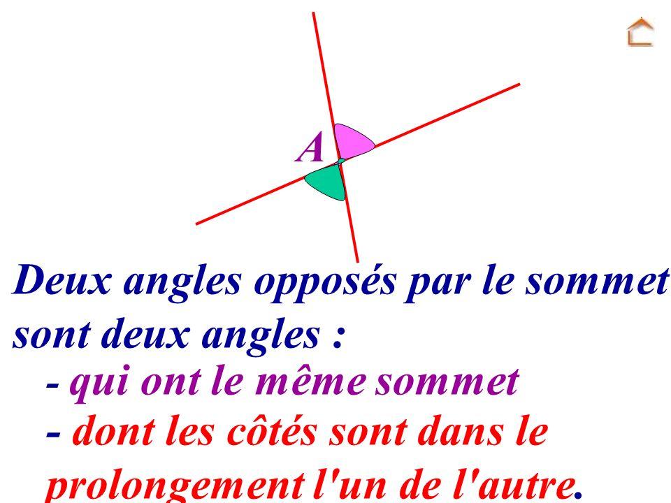 A Deux angles opposés par le sommet sont deux angles : - qui ont le même sommet - dont les côtés sont dans le prolongement l'un de l'autre.