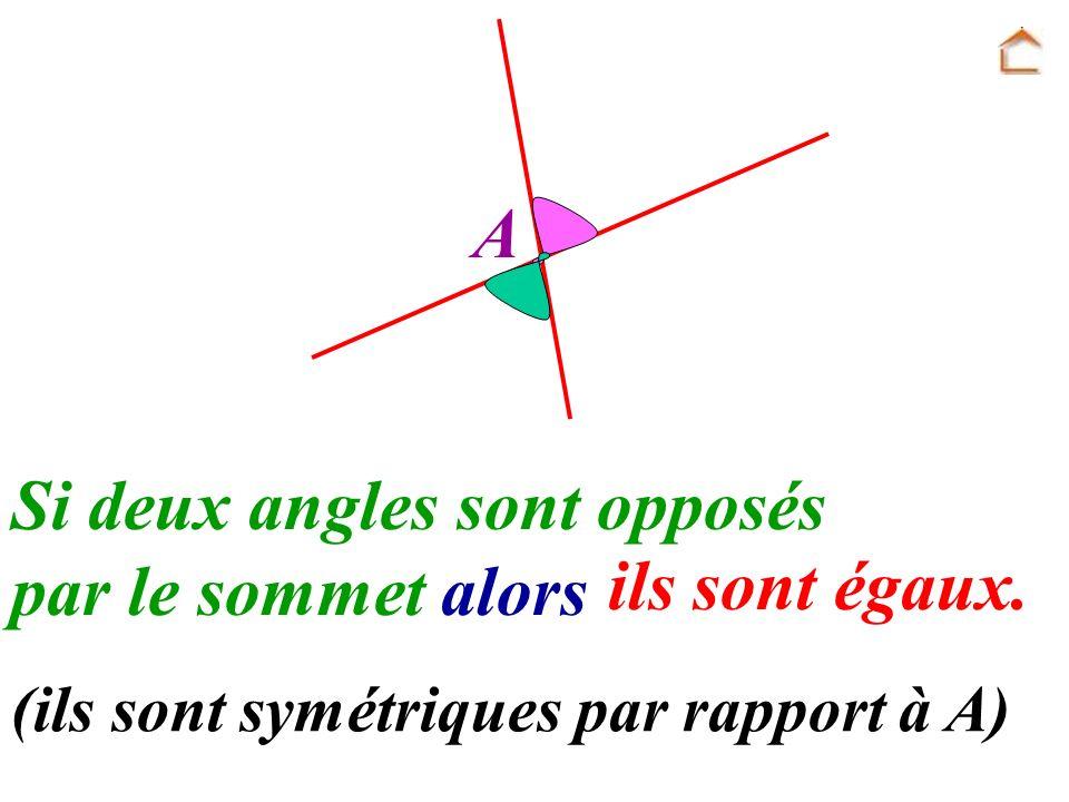 A Si deux angles sont opposés par le sommet alors ils sont égaux. (ils sont symétriques par rapport à A)