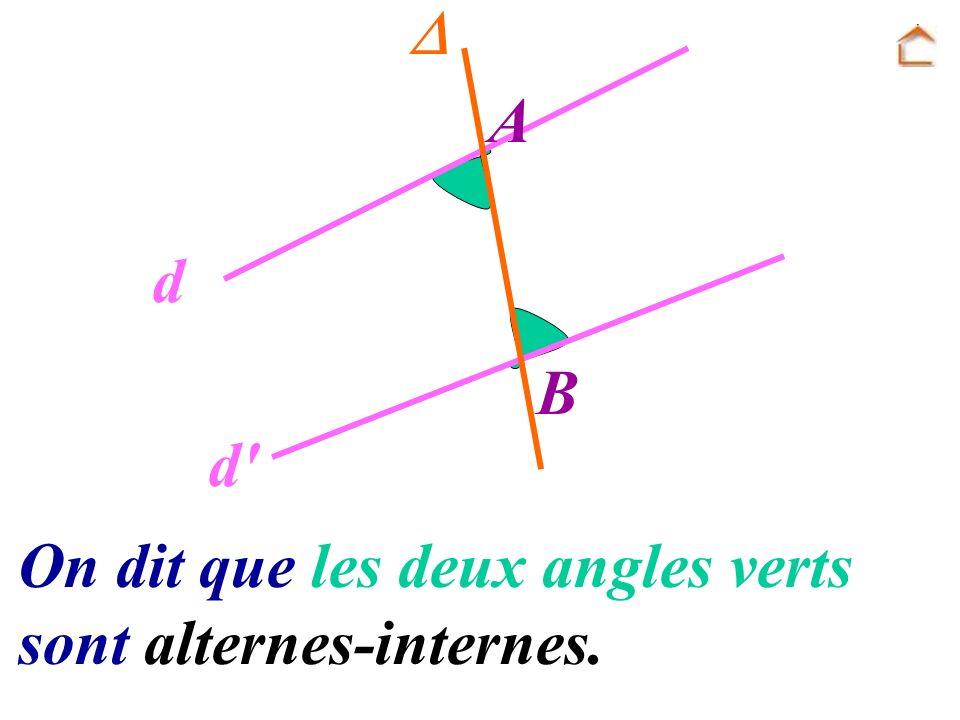 A B d d' On dit que les deux angles verts sont alternes-internes.