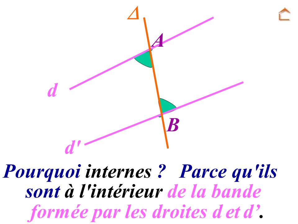 Pourquoi internes ? sont à l'intérieur de la bande Parce qu'ils A B d d' formée par les droites d et d.