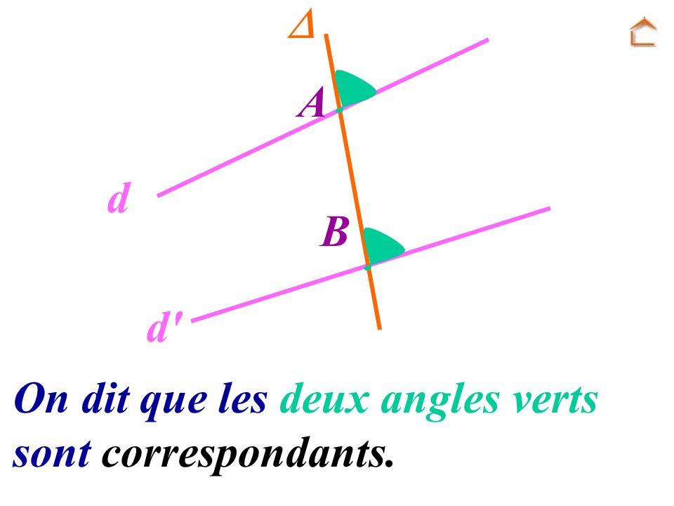 A B d d' On dit que les deux angles verts sont correspondants.