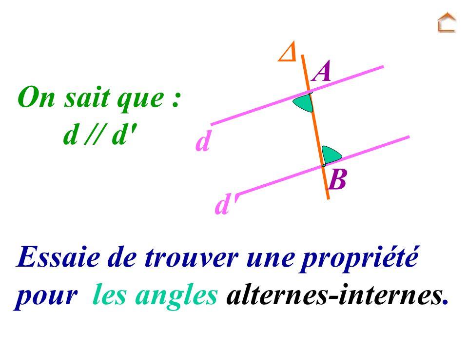 Essaie de trouver une propriété pour les angles alternes-internes. A B d d' On sait que : d // d'